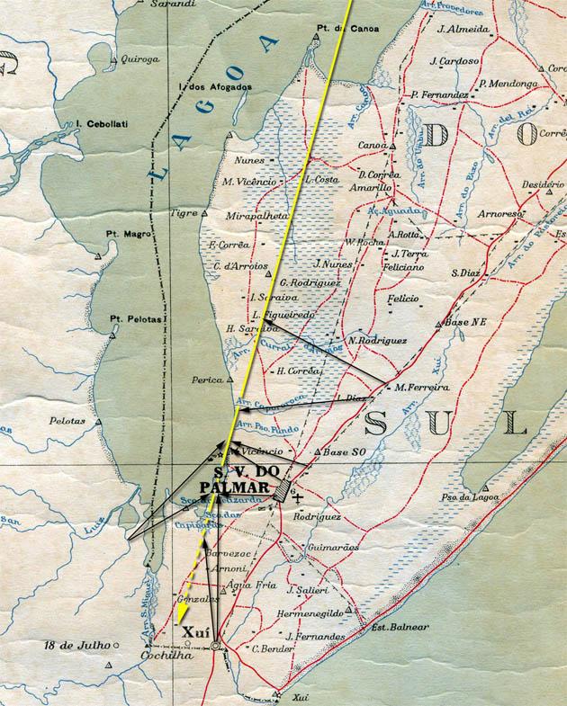Santa Vitoria do Palmar Meteorit, Karte